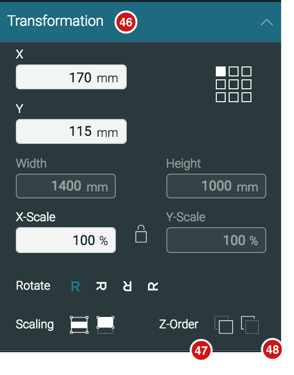 Impose Editor Transformation panel 1.7.2