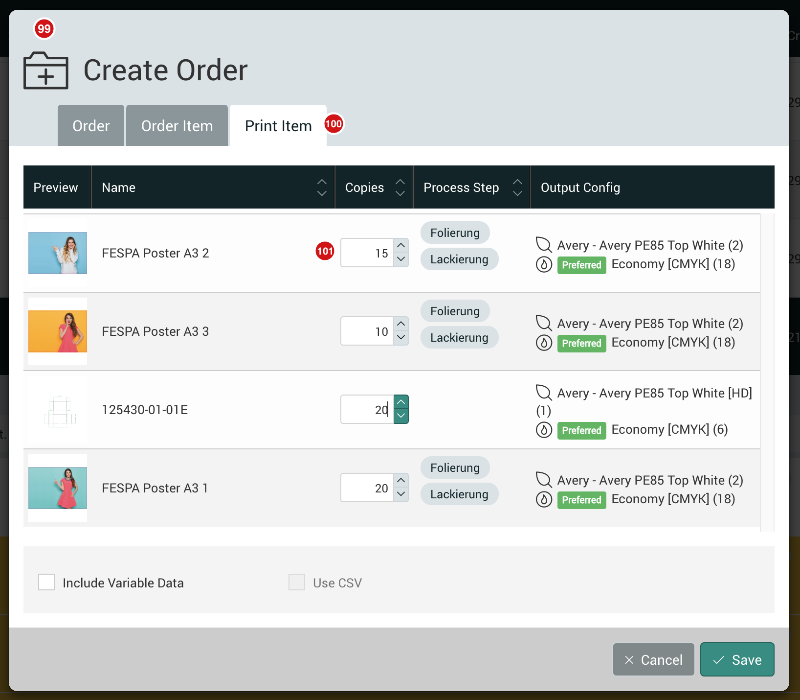 Create Order from a Collection dialog 1.7.2