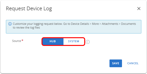Determine if you want Hub or System logs for Windows 10 troubleshooting in Workspace ONE UEM console.