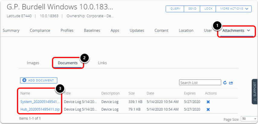 Locate logs in Workspace ONE UEM console to help with windows troubleshooting.