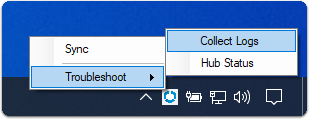 Windows 10 troubleshooting options in the Workspace ONE Intelligent Hub.