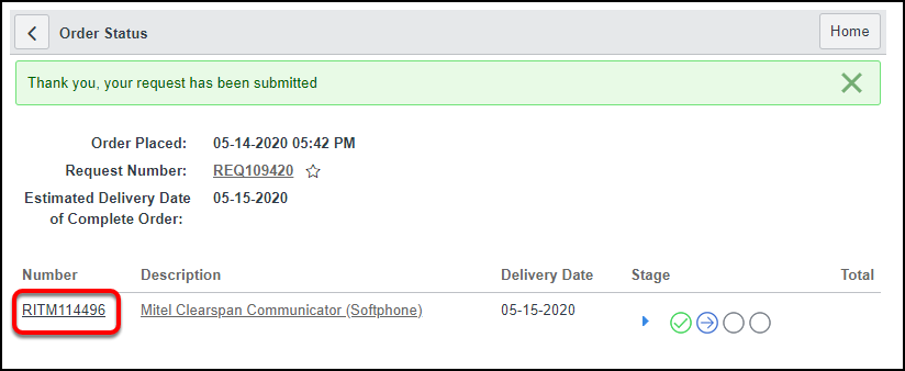 order submitted