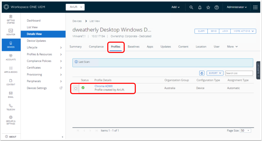 Confirm Policy Install status in Workspace ONE UEM