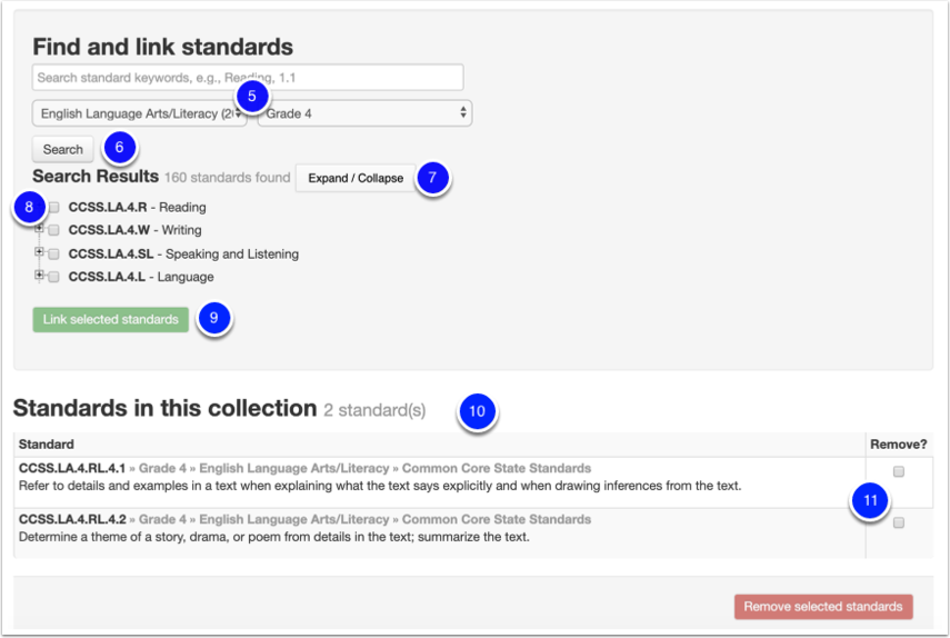 Find and Link Standards to your collection