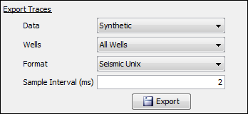 Export synthetic/seismic traces