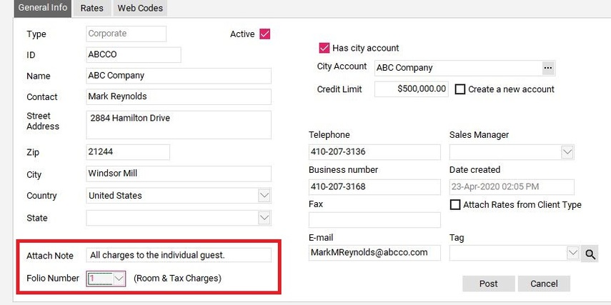 Update Room & Tax Routing and Billing Notes
