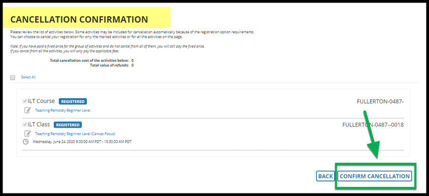 Cancellation Confirmation page