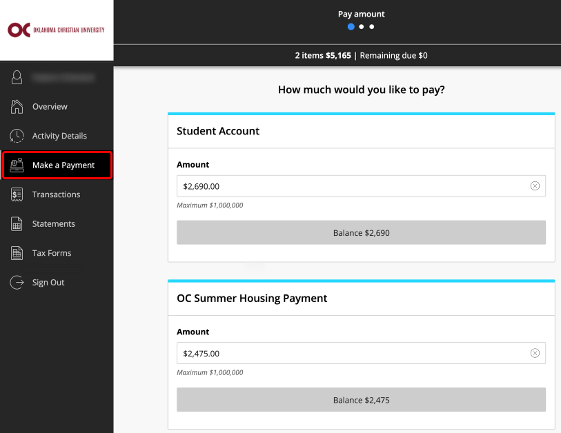 Paying a Student Account Online