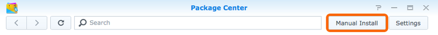 SynologyPackage Center > Manual Install