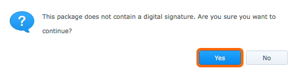 Synology Package Center - This package does not contain a digital signature.