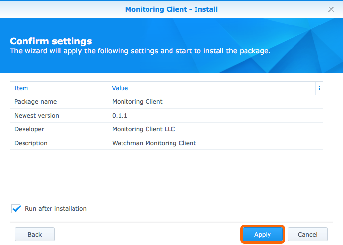 SynologyPackage Center - Confirm Settings > Apply