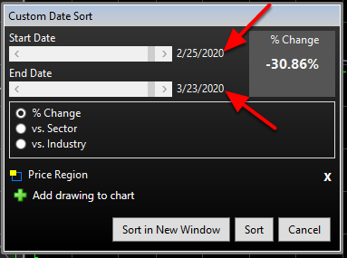 4. You can then fine tune the date range within the dialog that appears once the initial cursor selection is made.