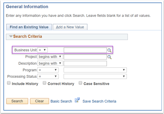 Project Costing General Information Screen Image