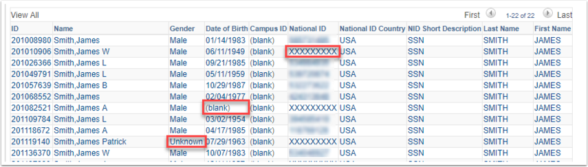 Person Information Search Results Showing Blank Values for Gender Data of Birth and National ID or SSN
