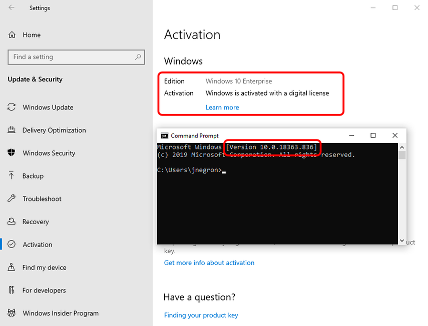 Check OS Activation and Build for Windows troubleshooting.