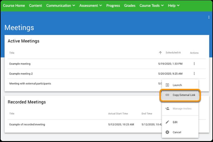 Meeting - copy external link option
