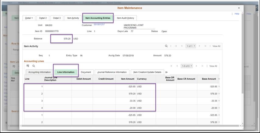 Item Maintenance, Item Accounting Entries Tab Image