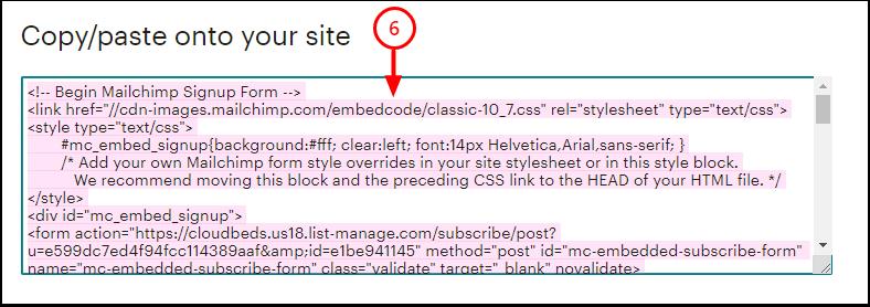 Embedded Form Code | Mailchimp - Google Chrome