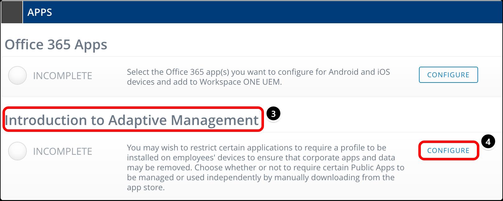 Begin configuring adaptive management.