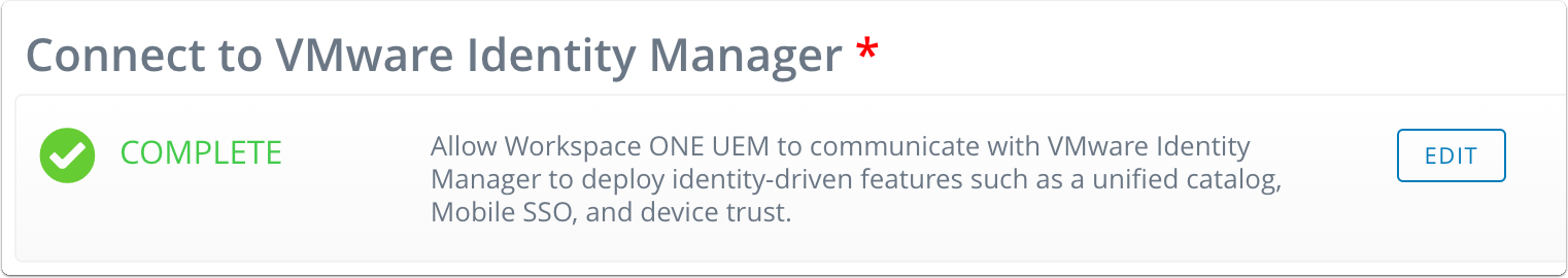 Verify you'e connected to VMware Identity Manager.