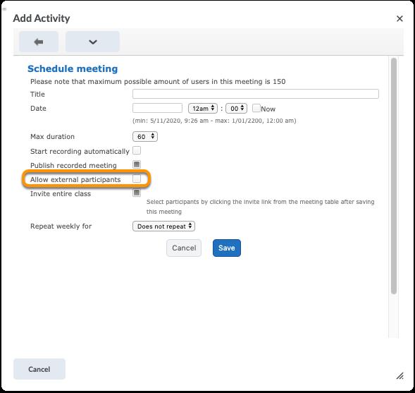 Create meeting - select Allow external participants
