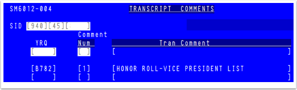 Transcript Comments in Legacy
