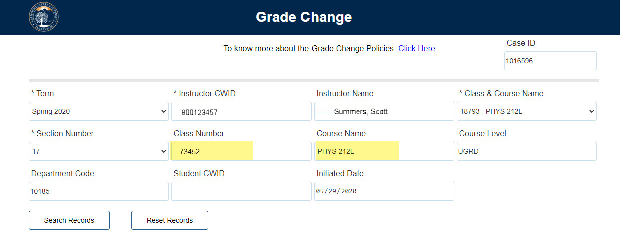 Highlighting CLass Number and Course Name populated field