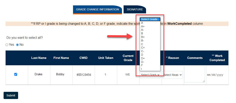 Box highlighting New Grade options