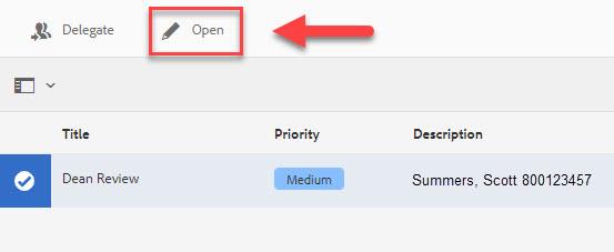 Box highlighting Open button