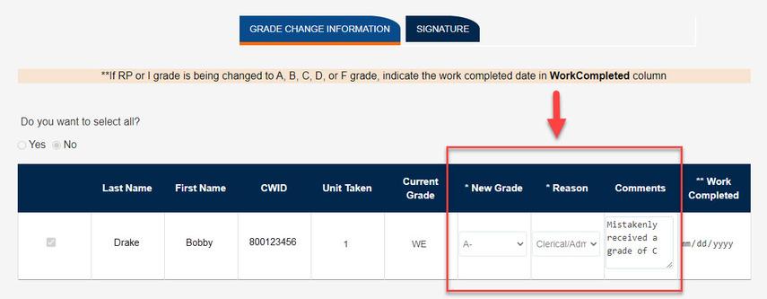 Highlighting Grade Change Information