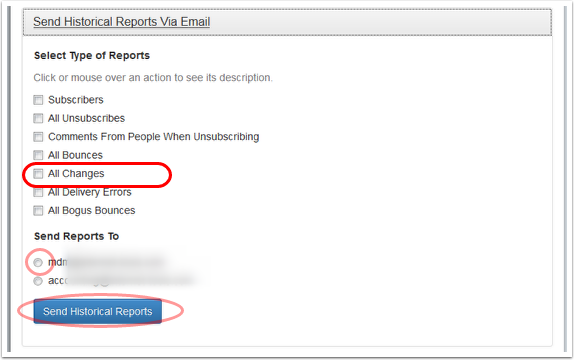 "Select ""All Bounces"" and the email address where you want to receive the report."