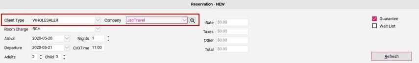 Making a Wholesaler Reservation