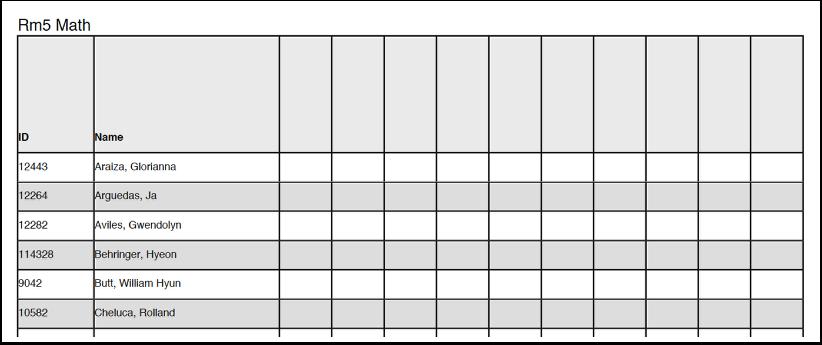 Blank Score Sheet