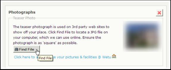 Click on Find File under Teaser Photo