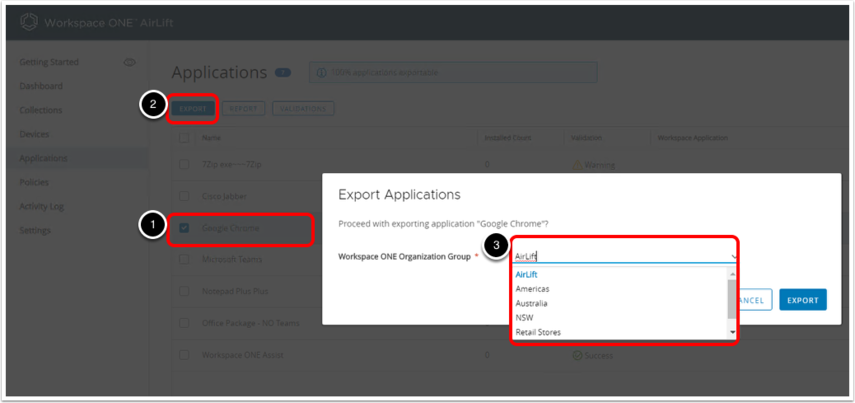 Migrating applications from Workspace ONE AirLift