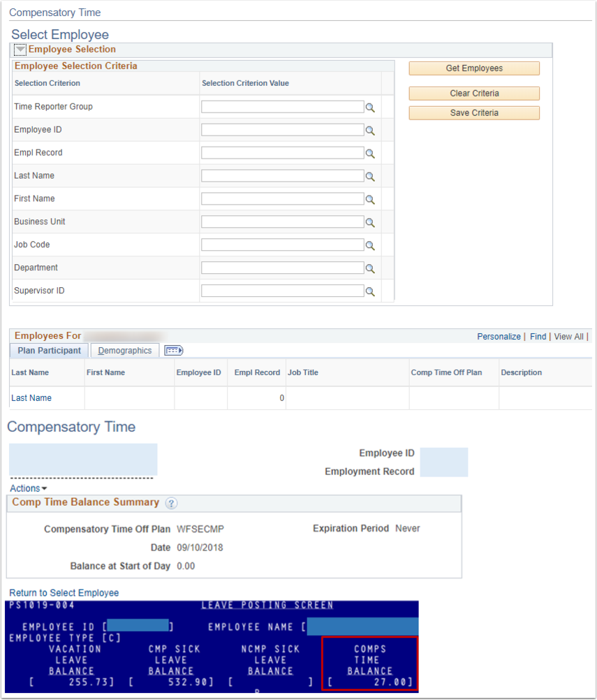 Select Employee/Plan Participant/PS1019-004 Tab Example