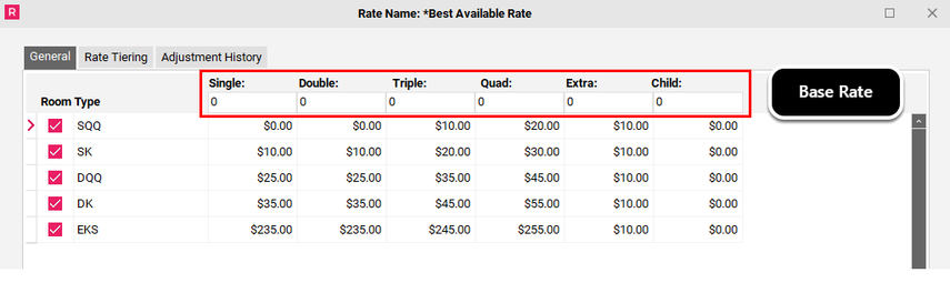 Working with your Rate Template