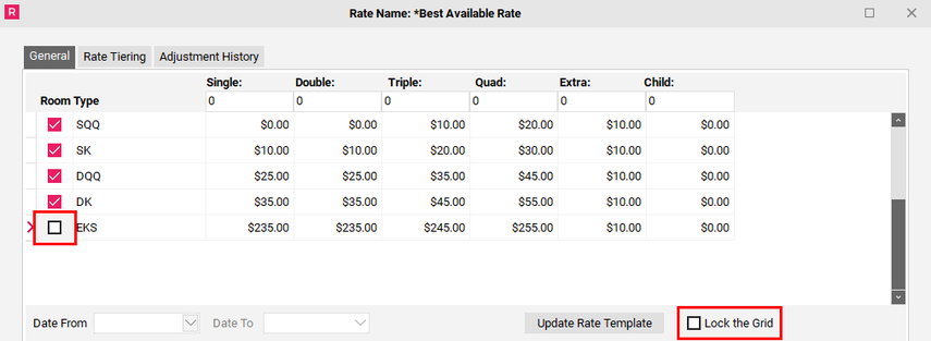 Changing your Rate Template- Unlocking the Grid