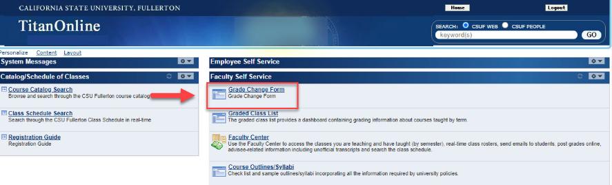 Titan Online Dashboard View highlight Grade Change Form link