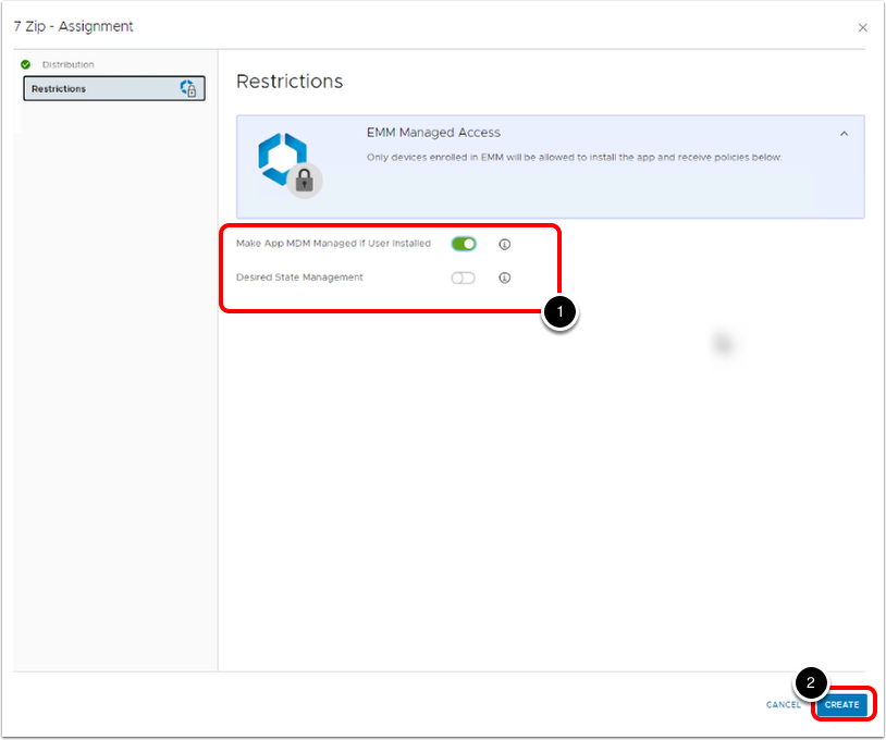 Configure Application Restriction options