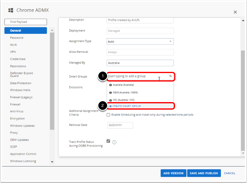 Assign Group Policy Object export in Workspace ONE UEM