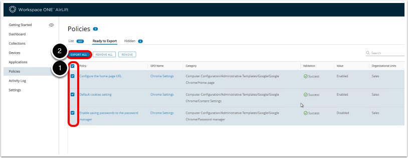 In Workspace ONE AirLift Admin Console, export policies to Workspace ONE UEM Organization Group