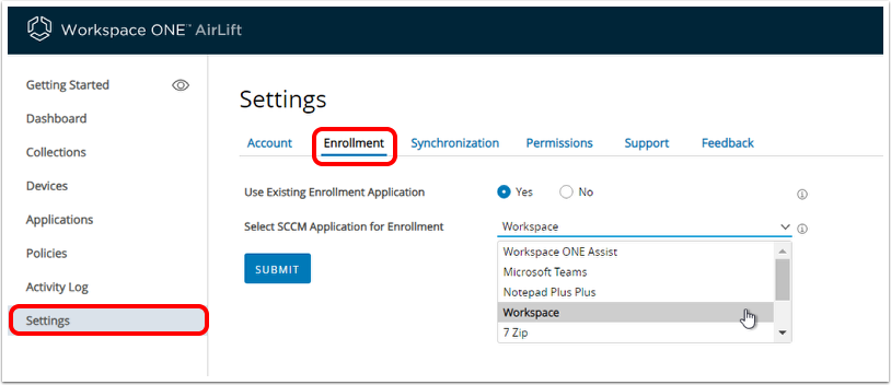 Locate Enrollment settings in Workspace ONE AirLift.