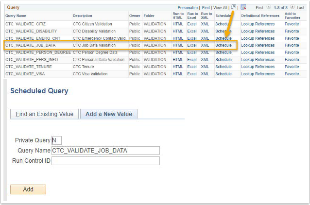 Schedule Link Highlighted Example