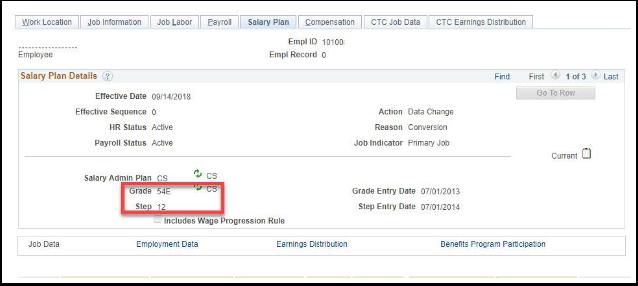 Salary Plan Tab Example