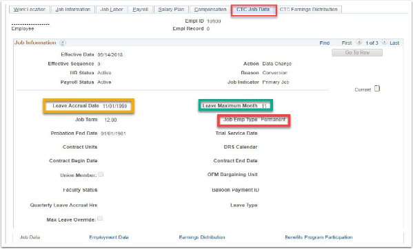 CTC Job Data Tab Example