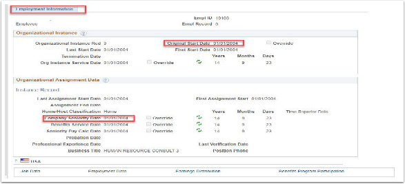 Employment Information Tab Example