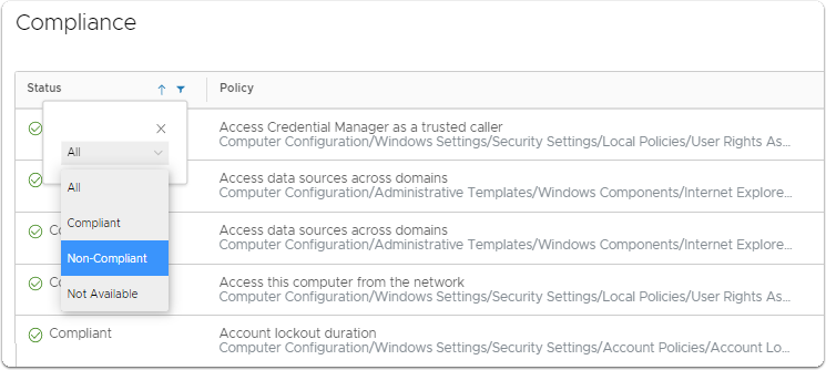 Review group policy compliance for a specific Windows 10 device.
