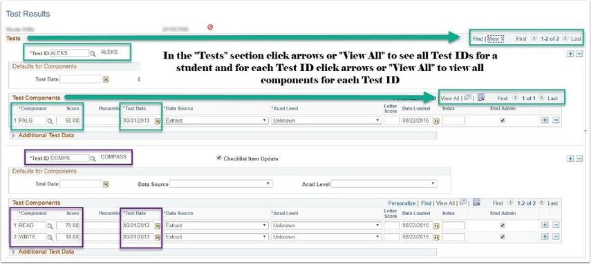 PeopleSoft Test Results Page Image
