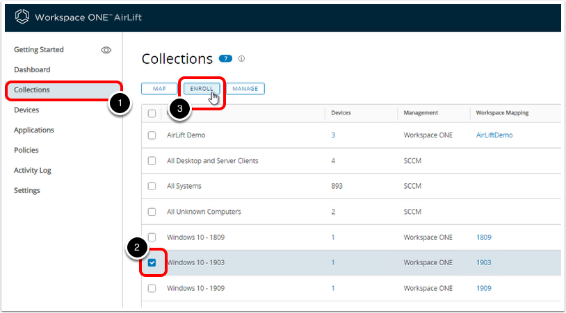 In Workspace ONE AirLift admin console, begin device on-boarding with accelerated enrollment